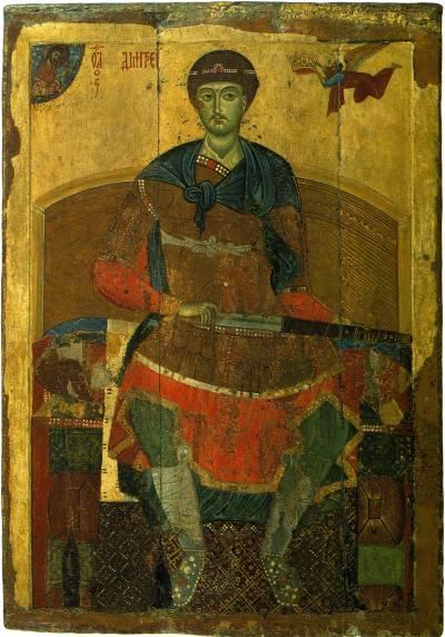 икона Дмитрий Солунский на троне