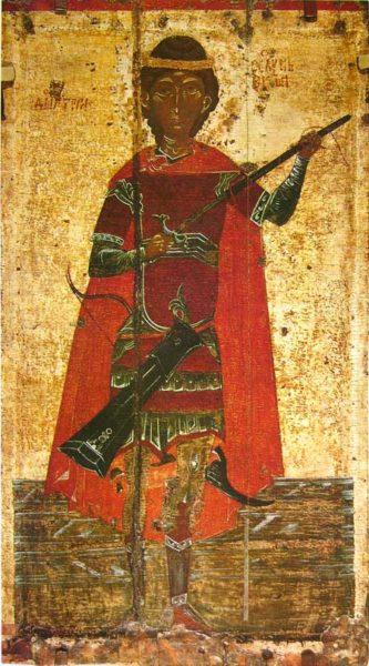 икона Дмитрий Солунский Псков 15 век.