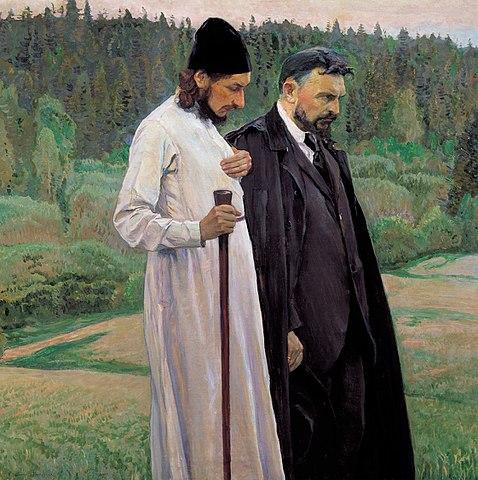 Павел Флоренский и Сергей Булгаков. Михаил Нестеров. Масло. 1917