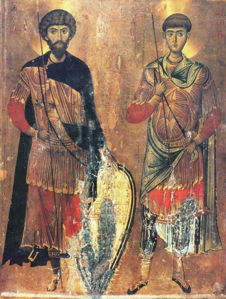 Святые Феодор Стратилат и Димитрий Солунский. Византия, XIII век. Монастырь св. Екатерины на Синае (Египет)