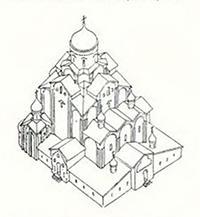 Реконструкция Троицкого собора, каким он был на рубеже XV—XVI веков