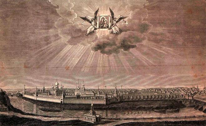 Тихвинский Богородичный Успенский монастырь, вид со стороны реки Тихвинки. Гравюра 1837 года.