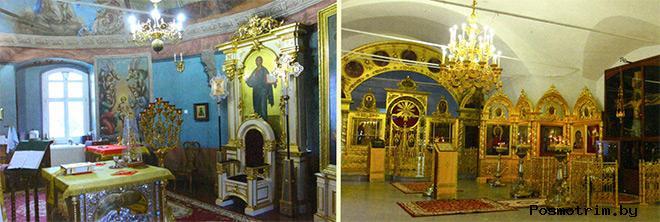 В алтаре главного храма и интерьер Боголюбского придела, справа - Животворящий Крест Господень.
