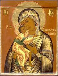 Икона Божьей Матери в спальне.