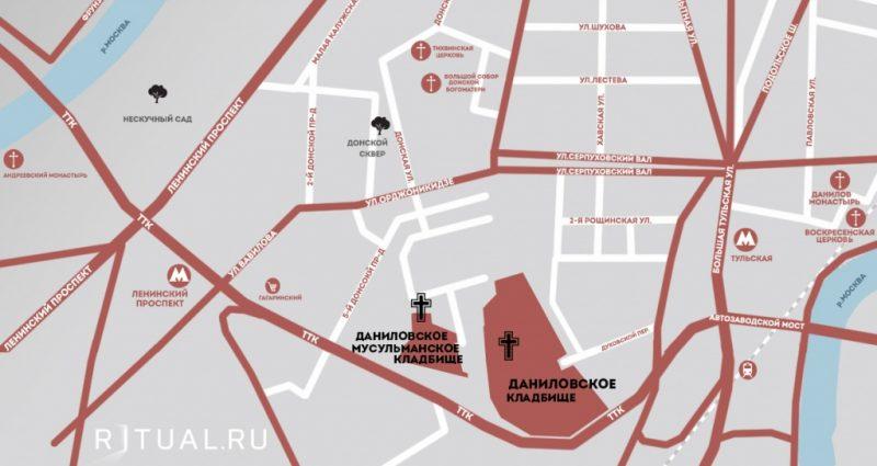Даниловское кладбище на карте