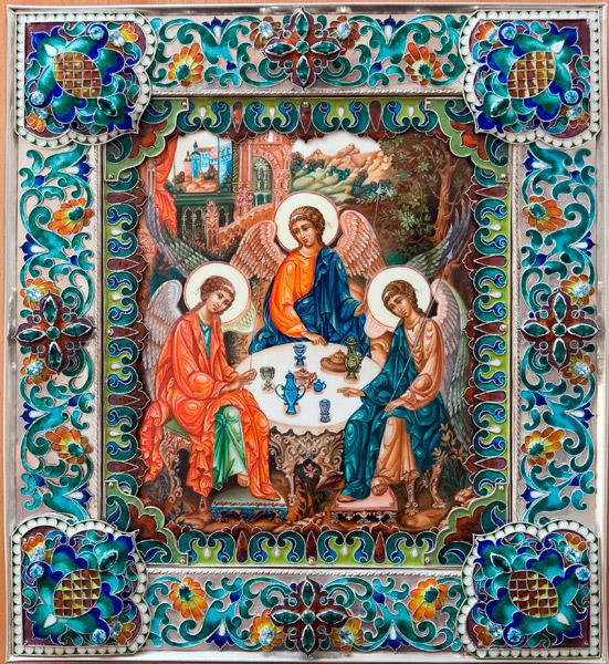 Икона небесных ангелов ниспосланных во время землетрясения