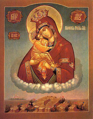 Икона Почаевская Богородица с отпечатком ступни