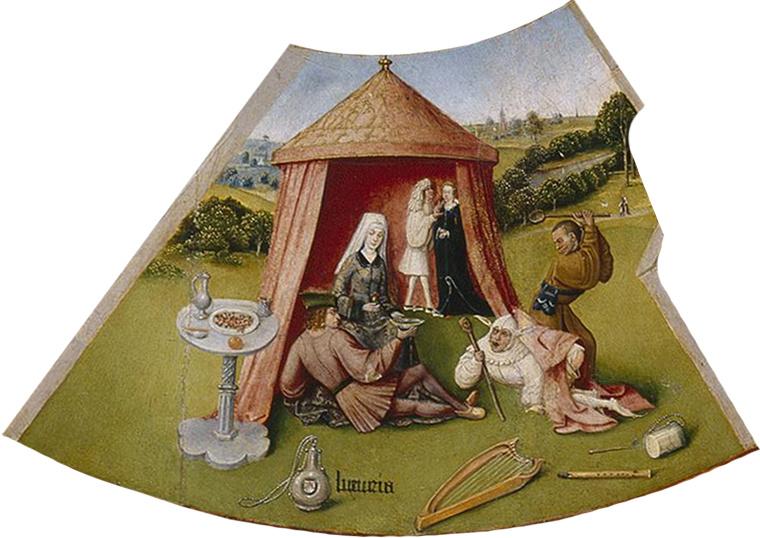 «Похоть. Семь смертных грехов и Четыре последние вещи. Фрагмент». Ероним Босх, 1440-е. Национальный музей Прадо, Мадрид. Под похотью понимается неудержимое желание совершить грех.
