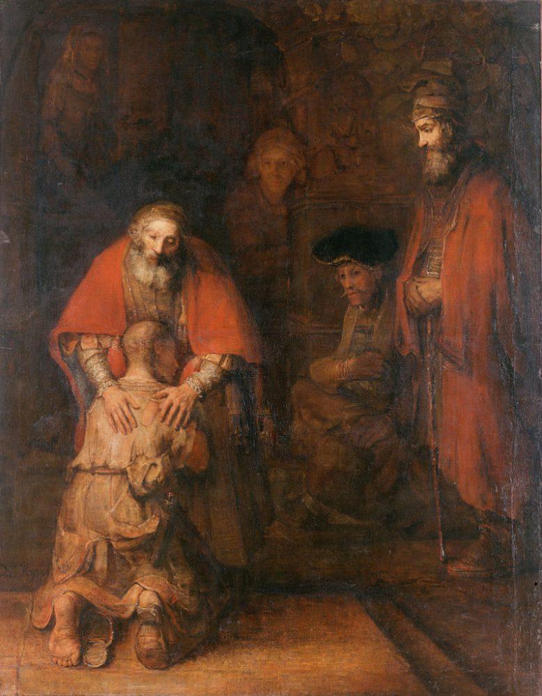 Рембрандт. «Возвращение блудного сына», около 1666-1669 года. Блуд может быть не только плотским, но и духовным. Блудный сын, покинув отца, отошёл от Бога. Раскаявшись, он вернулся к нему и получил от него прощение.