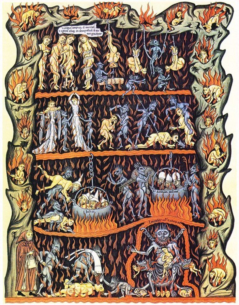 Средневековая иллюстрация наказания грешников в аду в рукописи Геррады Ландсбергской, около 1180 года. В христианстве смертные грехи считаются самыми опасными, так как плодят вокруг себя другие грехи.
