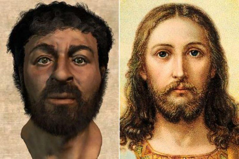 Иисус, с точки зрения современных ученых (слева), и его каноническое изображение (справа)