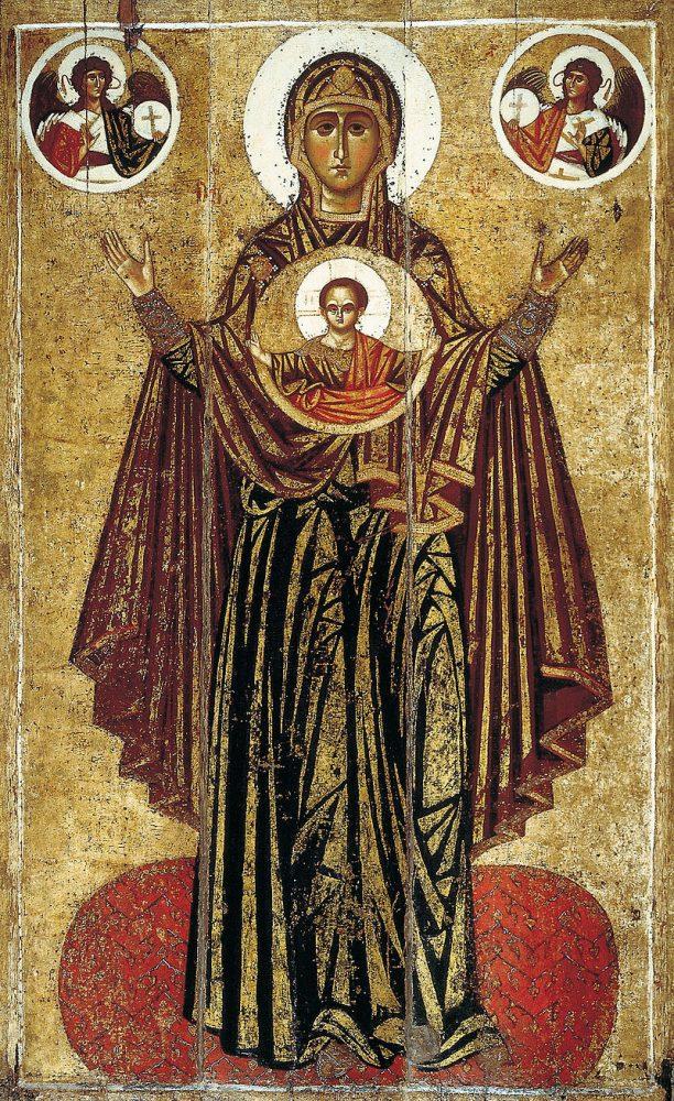 Ярославская Оранта называется Великой Панагией. Это самая известная икона типа «Знамение»