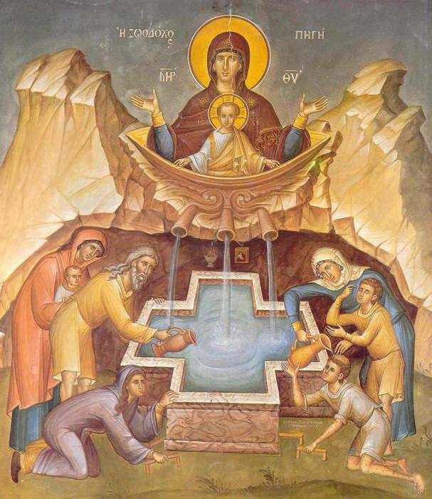Богородица с младенцем изображается сидящей или стоящей в огромной чаше, стоящей в водоеме. Водоем наполнен целительной водой: люди пьют воду и исцеляются.