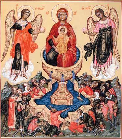 На некоторых иконах типа «Живоносный источник» Богоматерь изображена в традиции Богородицы Никопеи, которая просто поддерживает Христа