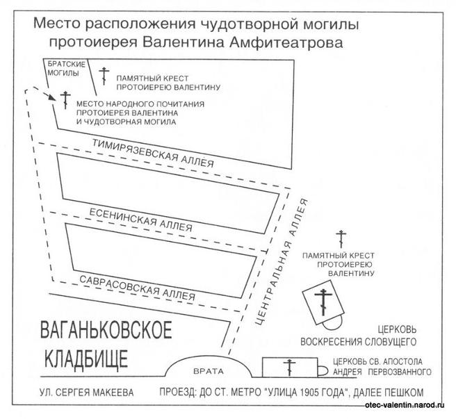 На фото указано место расположения чудотворной могилы, а также улицу и как проехать