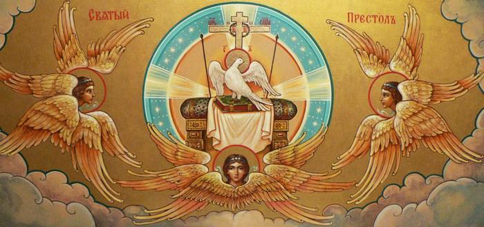 Иногда Серафимы на иконах просто держат престол, на котором находится сам Господь Бог