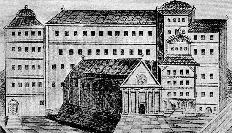 Резиденция константинопольских патриархов в Константинополе (Стамбул). Гравюра. 1737 года. В 1009 году Константинопольский Патриарх Сергий Манулит решил удалить преподобного Симеона Нового Богослова из Константинополя