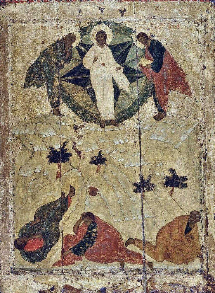 Преображение Господне (икона Андрей Рублёв, 1405 год). Учение святого Симеона Нового Богослова привело к спору о Фаворском свете (спор паламитов и вралаамитов)