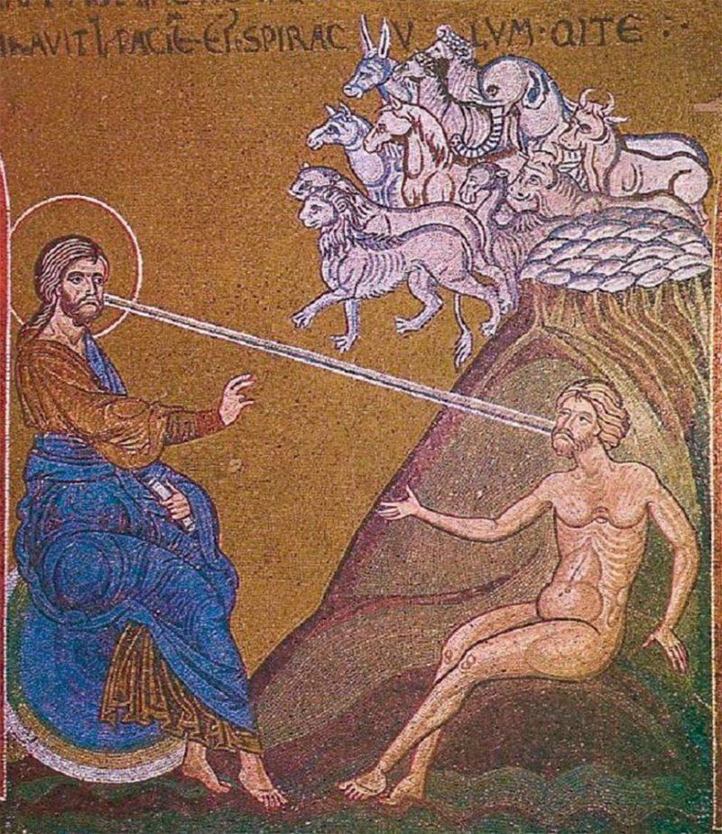 Сотворение Адама. Мозаика. XII век. При сотворении человека Бог передал ему свою Благодать, но не Божественную сущность