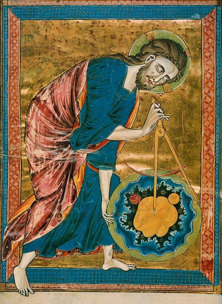 Сотворение мира. Миниатюра средневековой рукописи, XIII век. Господь — Творец. Именно поэтому он создал для своего удовольствия мир и человека