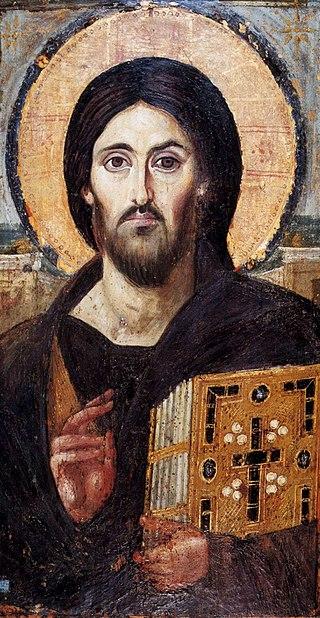 Старейшая известная икона Спаса Вседержителя — Монастырь Святой Екатерины. Богослову утверждают, что процесс творения человека ещё не окончен и его нужно ещё уподобить Иисусу Христу и Духу Святому
