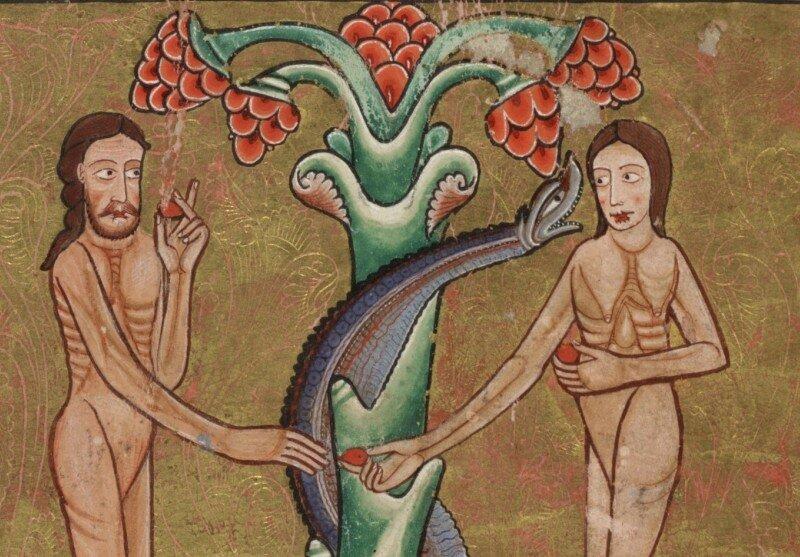 Грехопадение Адама и Евы. Миниатюра из Псалтири Хантера. Английская рукопись XII века. Бог не создавал человека несчастным и греховным. Человек сам преступил запрет Господа под влиянием Змея, которым прикинулся Диавол. Таким образом он потерял связь с Богом и ступил на путь зла