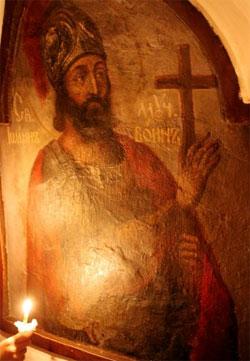 Икона Святого мученика Иоанна Воина из дальних пещер Киево-Печерской Лавры