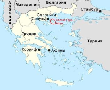 Карта Греции, где расположен город Солунь (Солоники)