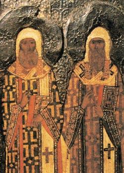 Митрополиты Московские Петр и Алексий (Лавра, Сергий Радонежский). Изображение на иконе